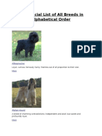 the official list of all breeds in alphabetical order