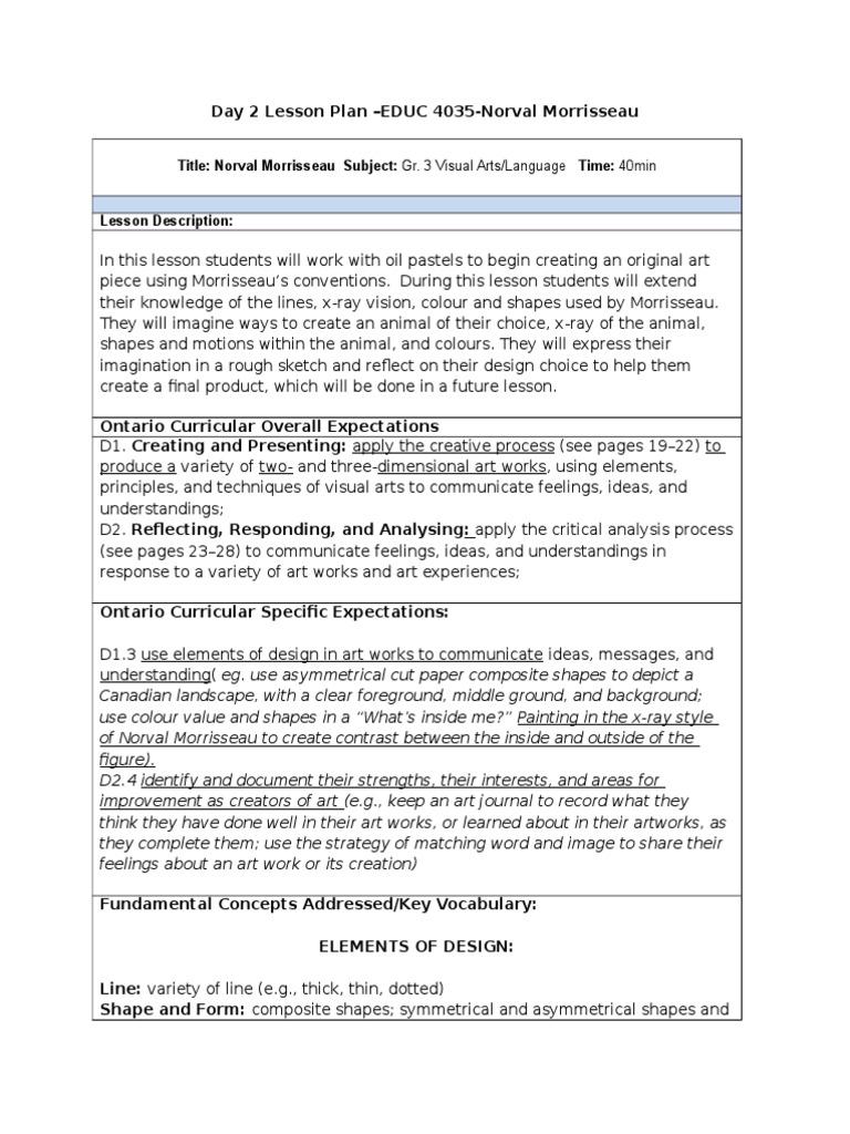norval morrisseau lesson plan | Educational Assessment | Color