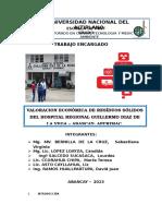Valoracion de Residuos Solidos. Okkkkkk. Del Hospital Guillermo Diaz de La Vega