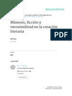 Mimesis Ficcion y Verosimilitud En la Creacion Literaria - Kurt Spang