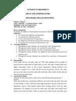 Student Worksheet i