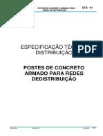 ETD 01 - Postes de Concreto Armado Para Redes de Distribuição