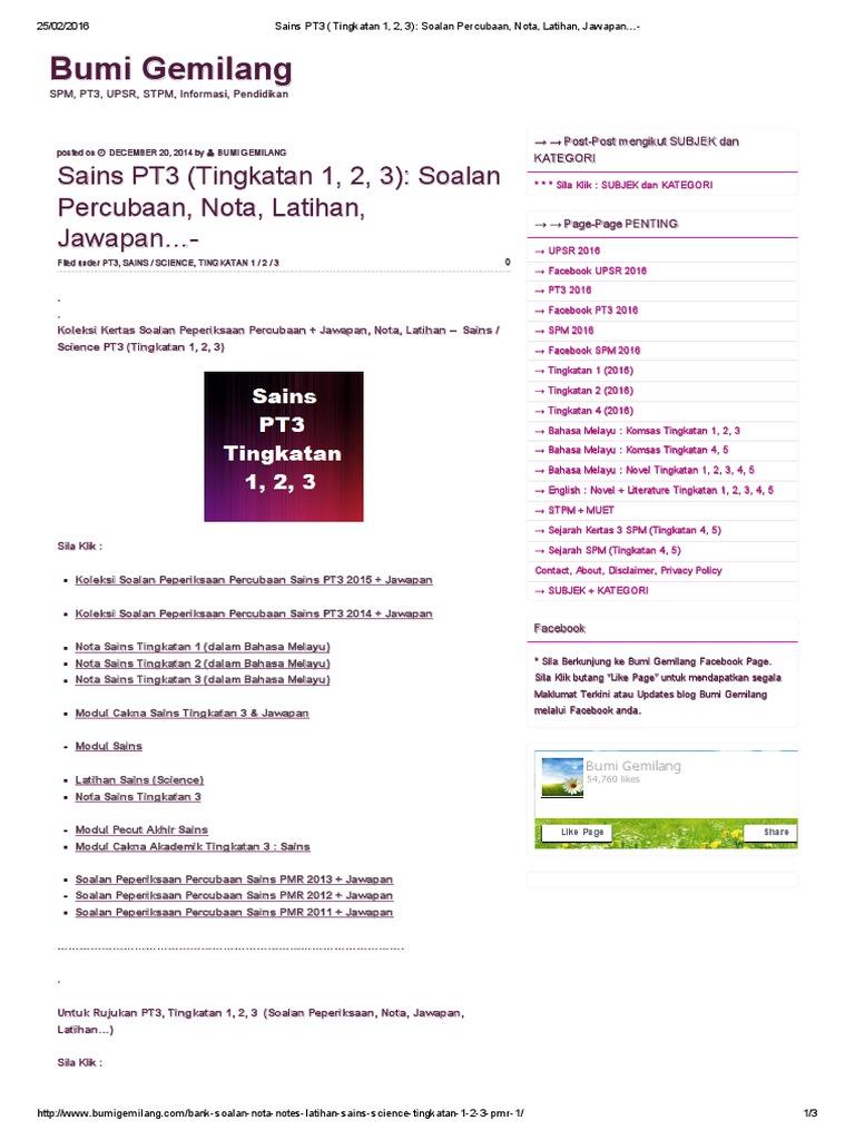Sains Pt3 Tingkatan 1 2 3 Soalan Percubaan Nota Latihan Jawapan