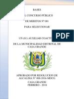 Bases Auxiliar Coactivo 2016 - Municipalidad Distrital de Casa Grande