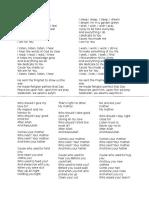 Song lyrics for listening and speaking