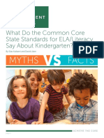 What Do the Common Core State Standards for ELALiteracy Say About Kindergarten Myth-Fact Document