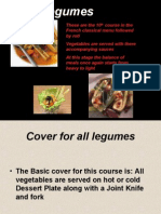 Legumes Course in French Classical Menu