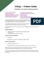 Resume Writing....a Basic Guide