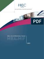 HEC Paris Brochure MIF-MBA 2015 Bd