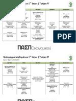 Πρόγραμμα Μαθημάτων 1ου Έτους - Εαρινό 2015-16