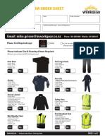 inwork gear uniform order sheet - feb 2016