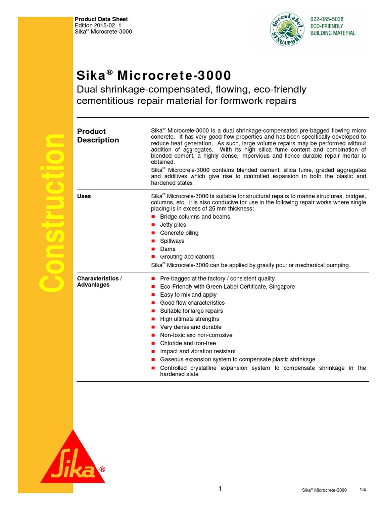 Sika Microcrete-3000 pdf | Concrete | Building Engineering