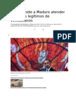 Obama Pide a Maduro Atender Reclamos Legítimos de Venezolanos