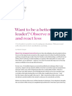 Want to Be a Better Leader Observe More React Less
