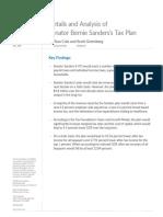 Senator Bernie Sanders's Tax Plan Economic Analysis