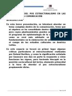 COMUNICACION Y POST-ESTRUCTURALISMO La Influencia Del Post Estructuralismo en Las Teorias de La Comunicacion