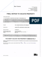 Notice to Vacate 10 February 2016