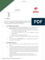 Offer Letter Airtel