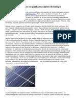 Coste del Panel solar es igual a su ahorro de tiempo