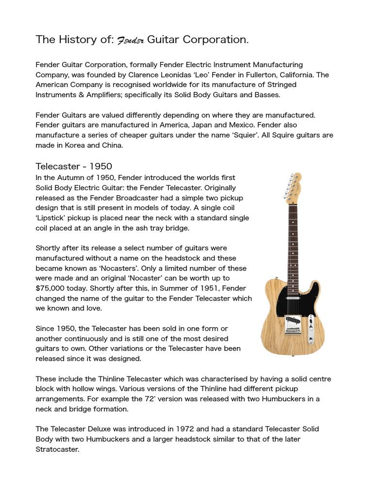 The History of Fender Guitars  | Bass Guitar | Guitars