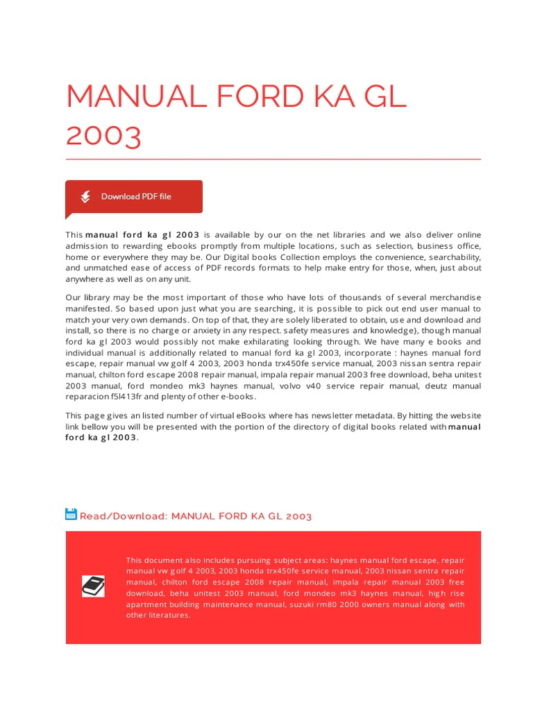 Manual ford ka gl 2003 automotive industry e books fandeluxe Image collections