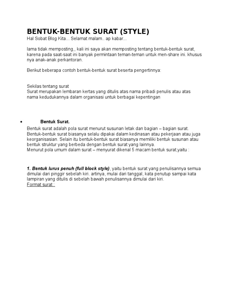 Bentuk Bentuk Surat Docx