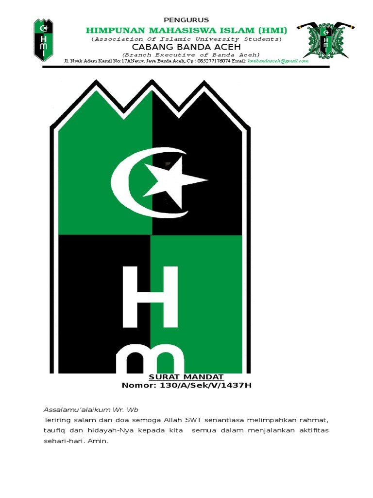 Surat Mandat Munas Lapmi Hmi Cabang Banda Aceh