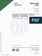ABNT 14724 (Mar 2011) Apresentação Trabalhos Acadêmicos