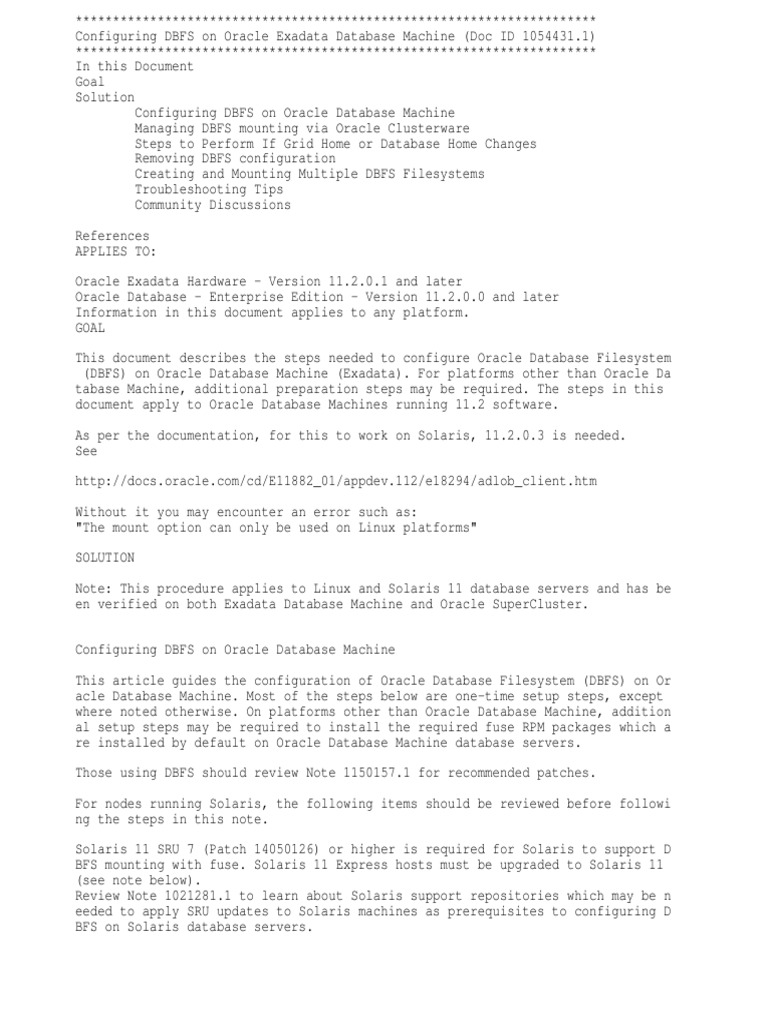 Configuring DBFS on Oracle Exadata Database Machine-doc Id 1054431(1