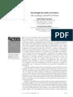 Sociologia Da Saúde Na França[1]