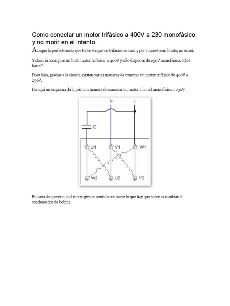 Como Conectar Un Motor Trifásico A 400v A 230 Monofásico Y No Morir En El Intento Energia Electrica Condensador