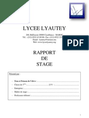 Rapport De Stage Troisieme Business économie