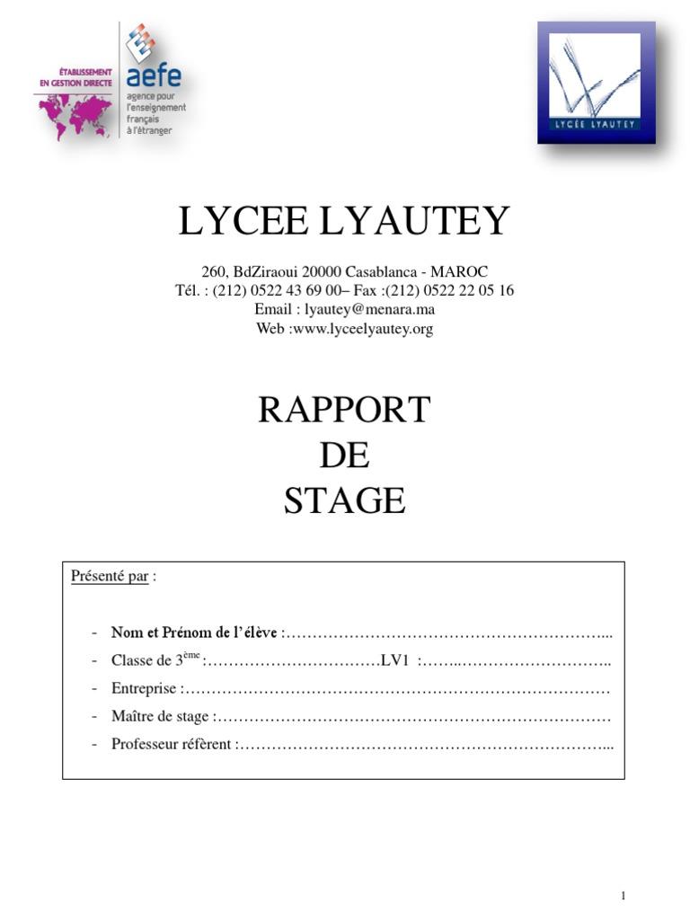 Rapport de Stage troisieme | Business | Économie | Essai ...