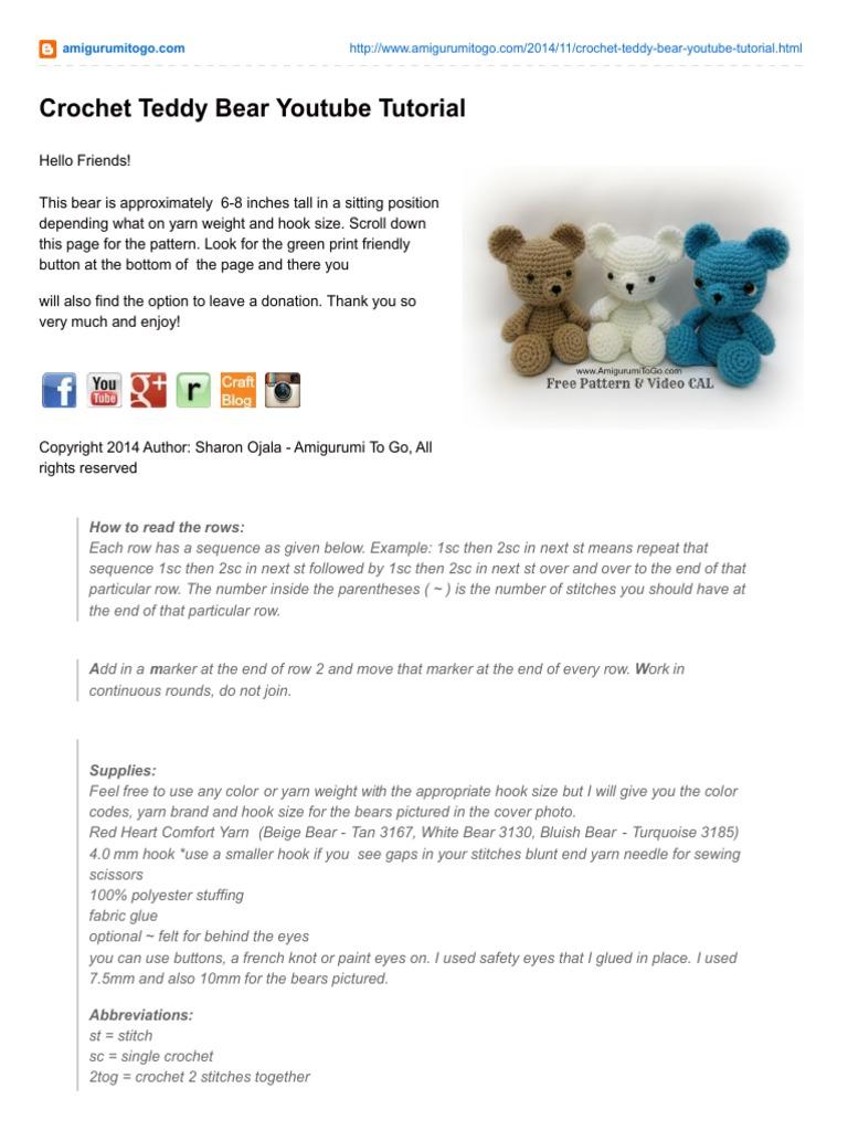 SIMPLE crochet teddy bear tutorial part 1 / beginner friendly ...   1024x768