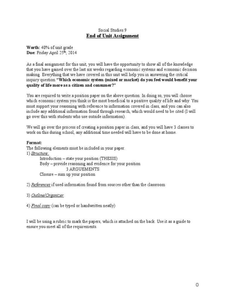 Assignment position paper economic system concept