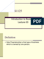 Introduction to Business - BUS1135 Lecture 03