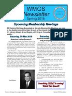 WMGS Newsletter Spring 2016