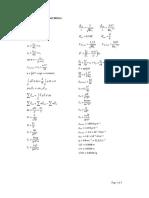 Fluid Mechanics Formulae