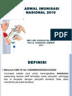 8. Jadwal Imunisasi Nasional 2010