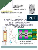 Elementi, Karakteristike i Selektivnost Zastite Od Kratkih Spojeva u NN Elektroenergetskim Instalaci