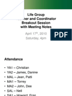 April 2010 Teacher-Coordinator Meeting with Notes