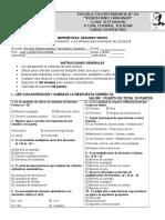 MATEMÁTICAS 2°. EXAMEN DEL TERCER BLOQUE III. 2015-2016