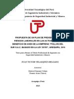 """PROPUESTA DE UN PLAN DE PREVENCIÓN DE RIESGOS LABORALES EN LAS ACTIVIDADES DE BENEFICIO DE AVES DE LA EMPRESA """"POLLOS DEL SUR S.A.C. BASADO EN LA LEY 29783"""", AREQUIPA, 2015"""