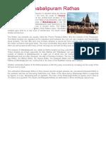 Mahabalipuram Rathas - Rathas of Mahabalipuram - Rathas at Mahabalipuram - Mahabalipuram Ratha Temples