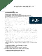 Prosedur Persiapan Pasien Untuk Pemeriksaan Ct Scan