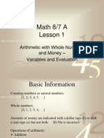 Math 76 Lessons 1 Through 5