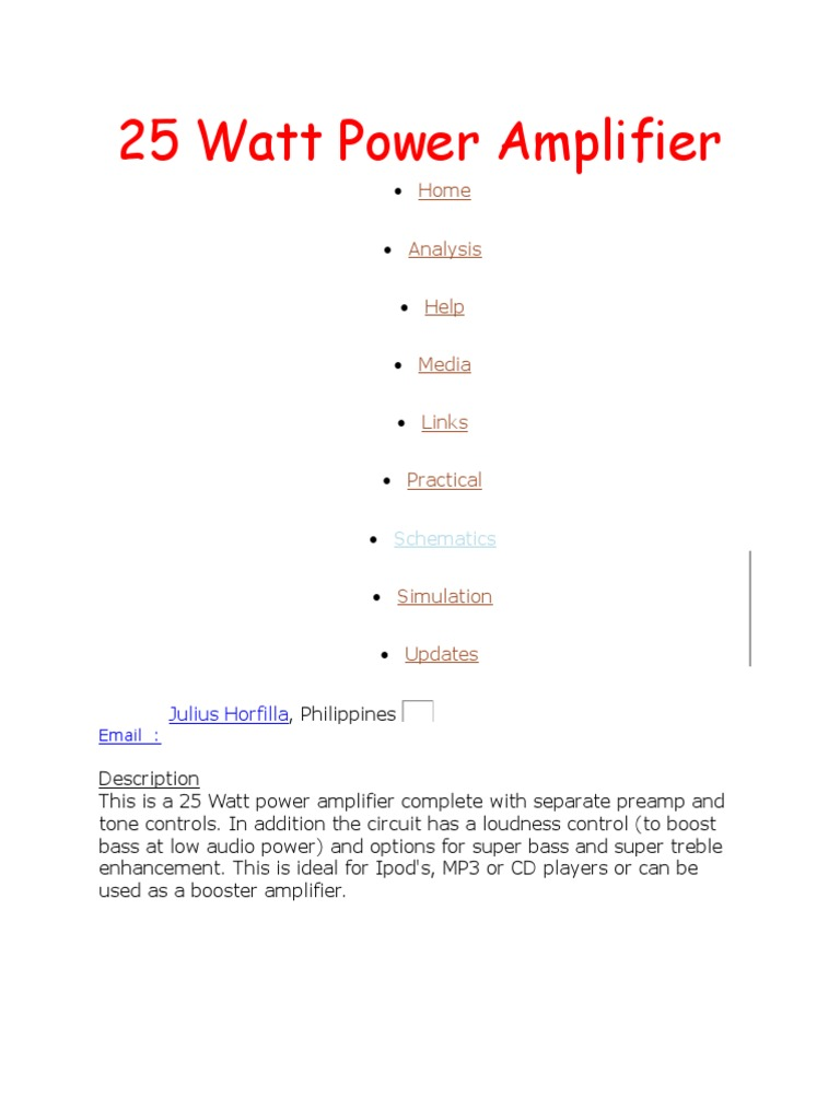 25 Watt Power Amplifier Electromagnetism Mp3 Player Booster Circuits