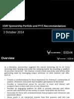 USAF Sponsorship Portfolio and FY15 Recommendations