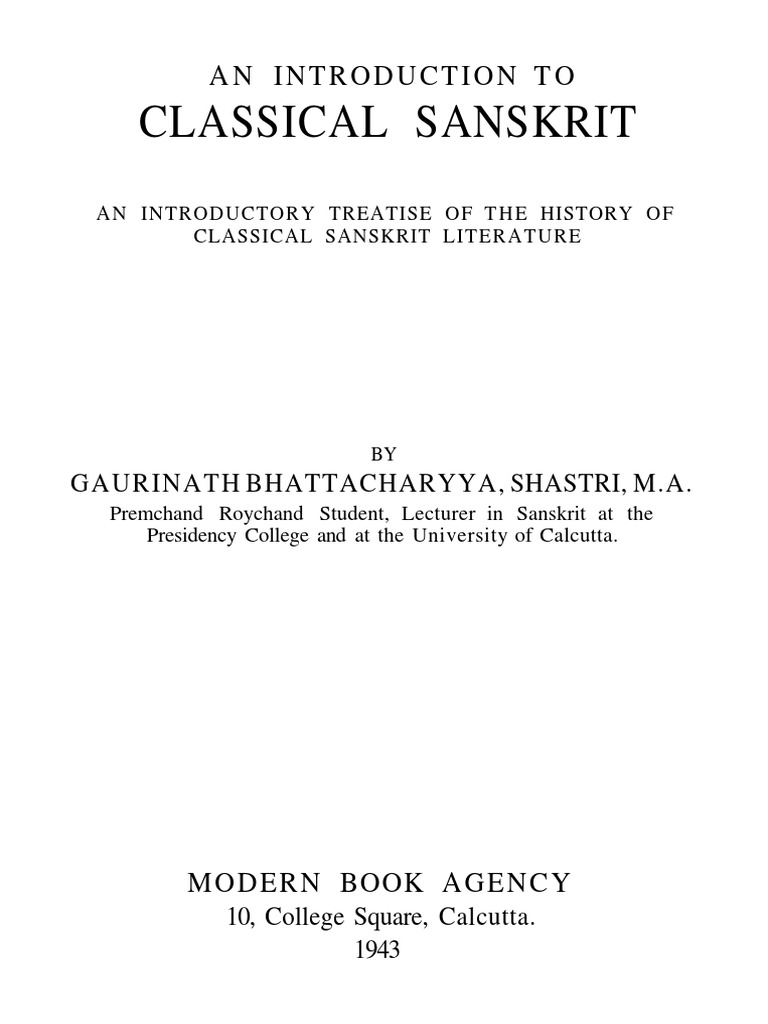 Bhattacharya Gaurinath An Introduction To Classical Sanskrit