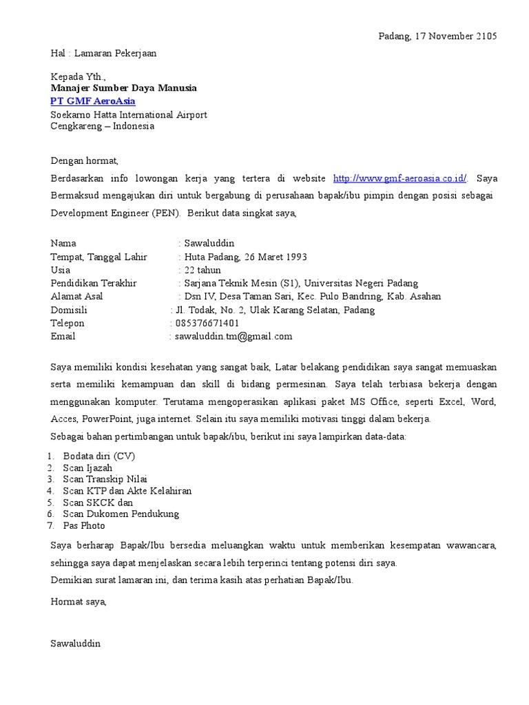 Contoh Surat Lamaran Kerja Di Pt Epson
